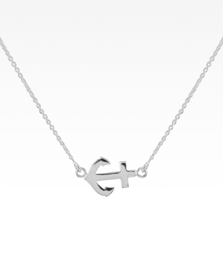 Sideways Silver Anchor Necklace with Pave Heart Sterling Silver Chain